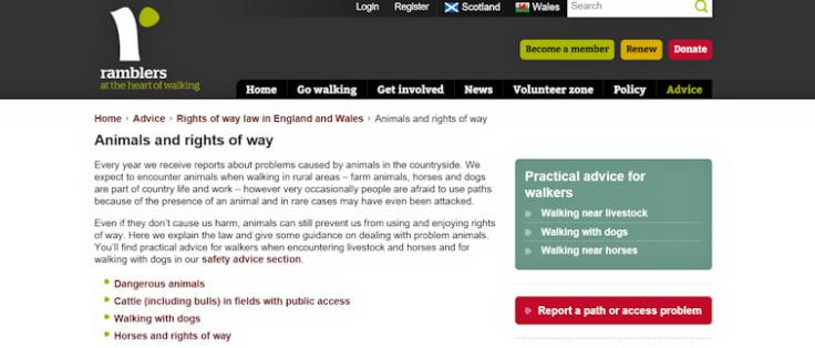 Ramblers legal advice re animals and rights of way for walkers