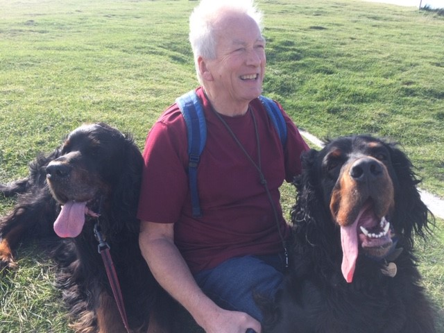 Susan's husband with their Gordon Setters