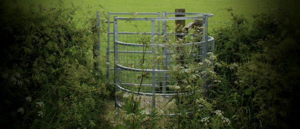 Kissing gate, to escape from stampeding cows.